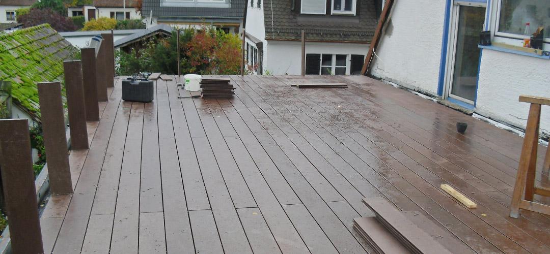 Flachdachabdichtung, Neugestaltung einer Dachterrasse (Privatanwesen)